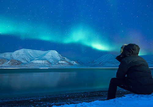 travel: person enjoying the Northern lights on a cold night
