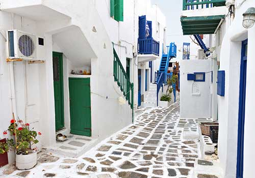 Mykonos - white, blue and green
