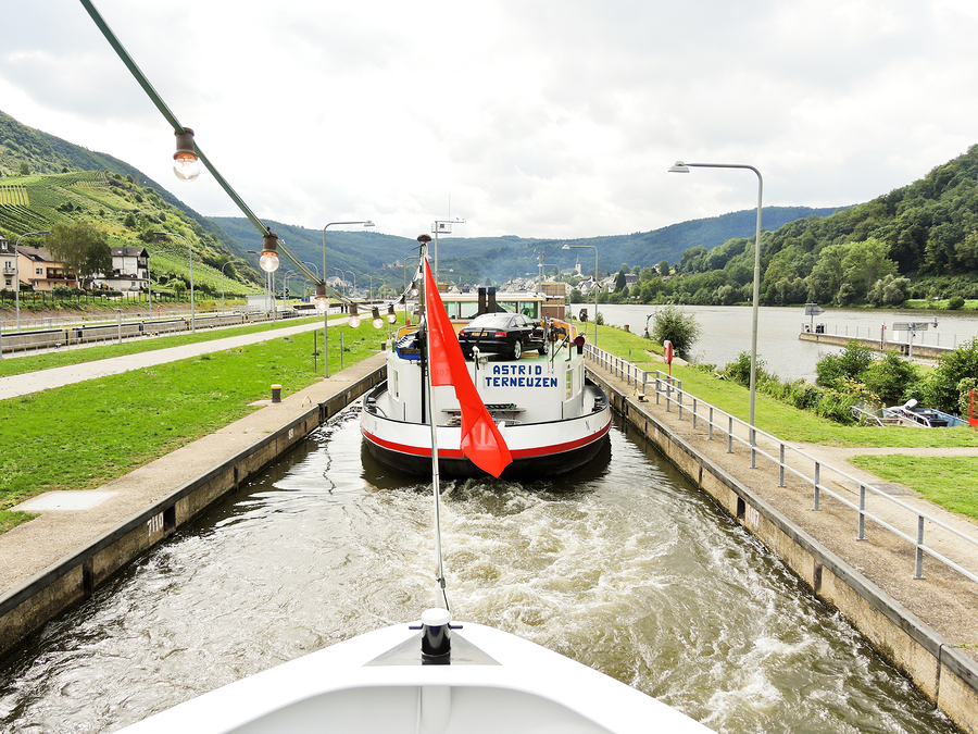 River Cuise ships must pass through narrow locks