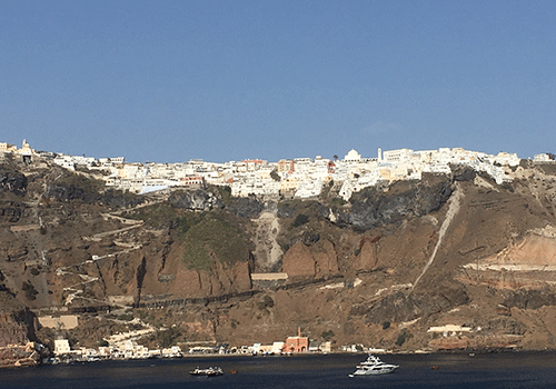 Probably your first glimpse of Santorini